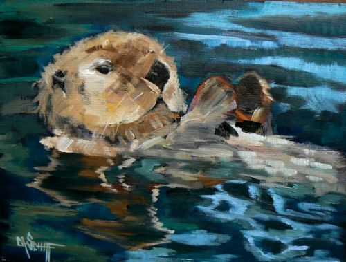 """Giclee Print on Sale, Wildlife Art Print, Daily Painting, Small Oil Painting, """"Playful Otter"""" by Carol Schiff, 12x16x.75"""" Art Print"""