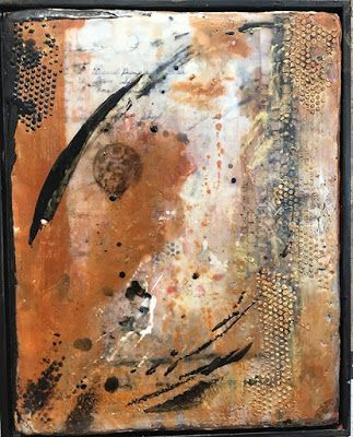 "Encaustic Abstract Art, Mixed Media, Contemporary Painting, ""Beehive"" by Texas Contemporary Artist Sharon Whisnand"