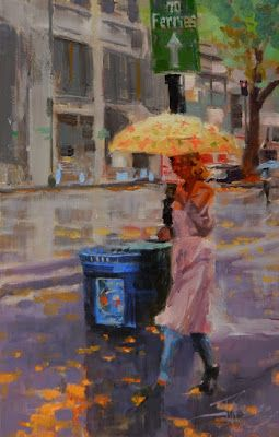 """""""To the Ferry"""" Seattle city oil painting by Robin Weiss"""