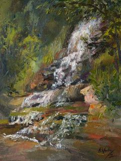 """Falling Water"" by Contemporary Impressionist Niki Gulley"