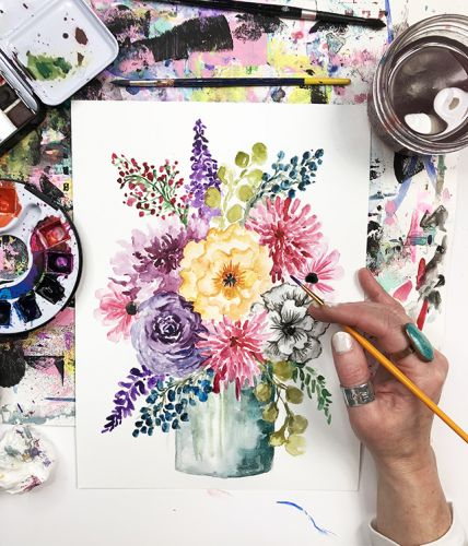 A peek inside my process- watercolor floral painting