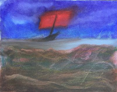 "Abstract Seascape, Contemporary Art, Ship , Oil Pastel ""Mystery Ship on the Rocky Coastline"" by Arizona Abstract Artist Cynthia A. Berg"