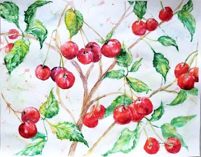 """Cheery Cherry Season"" Original Abstract Cherry Watercolor by Janice Trane Jones 11 x 14"