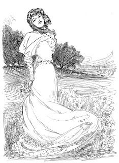 Edwardian Lady Pen and Ink