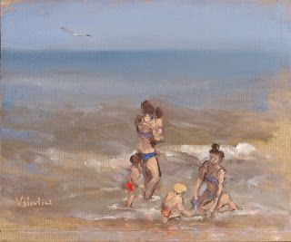 Mom's and kid's having FUN, at the beach