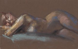 Sleeping female nude pastel drawing
