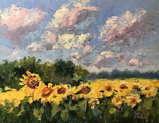 Contemporary Impressionistic Landscape Floral Palette Knife Oil Painting by Artist Sheri Jones
