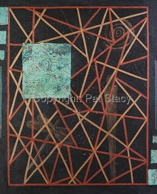 "Mixed Media Abstract Painting,""Web of Life"" by Contemporary Arizona Artist Pat Stacy"
