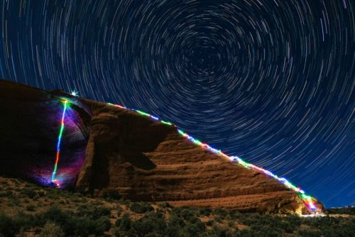 Photographer Creates Long Exposures of Himself Climbing with LED Lights