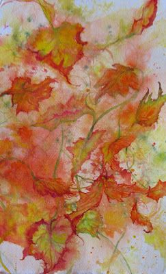 """""""AUTUMN BRILLIANCE"""" Large Original abstract fall leave watercolor by Janice Trane Jones 14 x 22"""