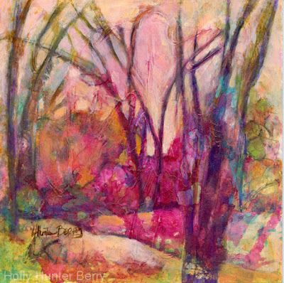 """Colorful Contemporary Landscape Painting, Abstract Landscape, Tree, """"Choose Color"""" by Passionate Purposeful Painter Holly Hunter Berry"""