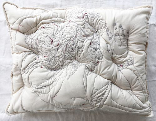 New Embroideries of People Slumbering on Handmade Pillows by Maryam Ashkanian