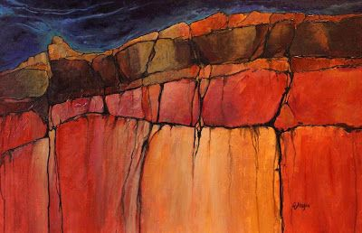 "Geologic Abstract Mixed Media Painting ""Grand Canyon 4"" by Colorado Artist Carol Nelson"