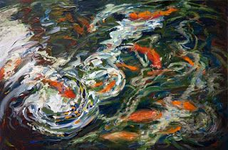 "New ""Wait for Me"" Palette Knife Koi Fish Painting by Niki Gulley"