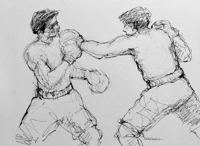 Middleweights - original ink figurative drawing