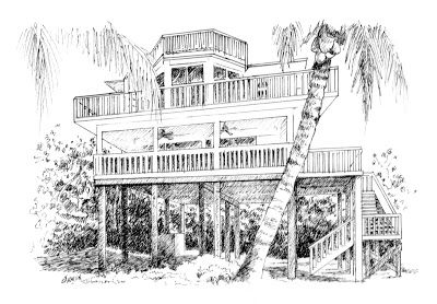 Gull Cottage, Pen-and-Ink Drawing, 5x7