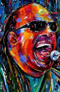 "Abstract Palette Knife Jazz Music Portrait ""Stevie Wonder"" by Texas artist Debra Hurd"