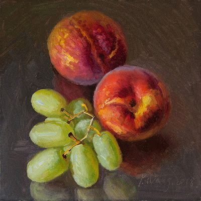 Peaches grapes still life fruit painting original daily painting a day