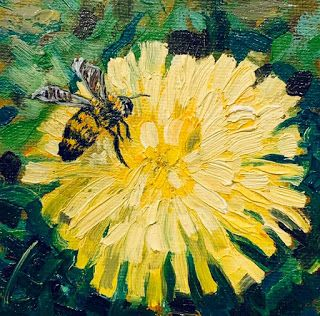 Honeybees and Dandelions, by Melissa A. Torres, 4x4 oil on canvas