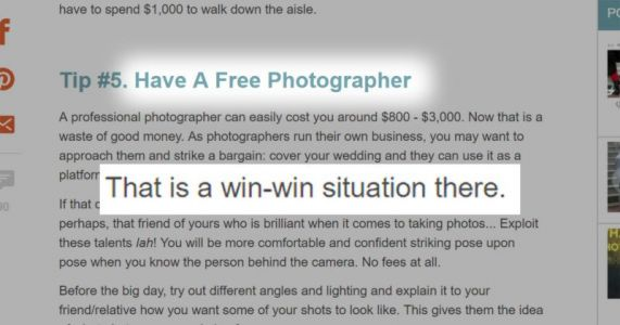 Wedding Photography for 'Exposure' is NOT a 'Win-Win'