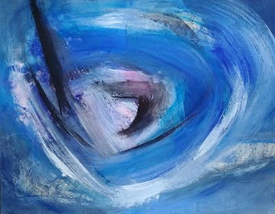 "Abstract Expressionism, Contemporary Art, Acrylic Painting ""Blue Vortex"" by Arizona Abstract Artist Cynthia A. Berg"
