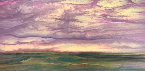 "Abstract Landscape Painting,Sunrise ,Contemporary Landscape ""The Sun Rose Softly II"" by Colorado Contemporary Artist Kimberly Conrad"
