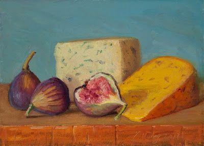 Cheese figs original oil painting a day daily painting food small work of art