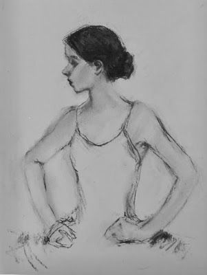 Ballerina Sketch - original figurative charcoal drawing