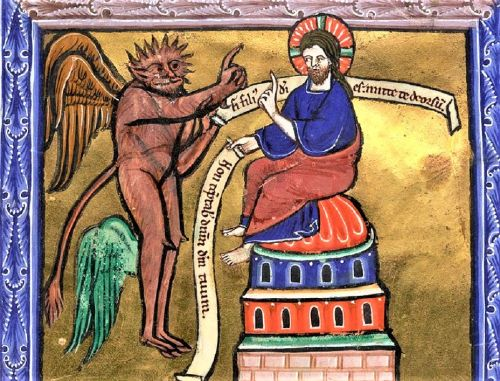Lent - Temptations in the Wilderness - Christ & Satan 13C