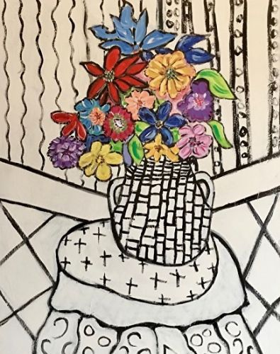 "Contemporary Flower Painting, Folk Art, Narrative Art Painting,Still Life ""Flowers On My Table, Santa Fe"" by Santa Fe Artist Judi Goolsby"