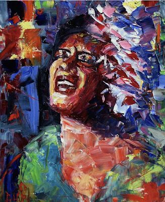 "Abstract Jazz Art Portrait, Blues, Music Art Paintings ""Billie Holiday Live"" by Texas Artist Debra Hurd"