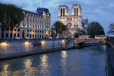 French Architecture,River Siene 'Notre Dame After Sunset' by International Photographer Kit Hedman