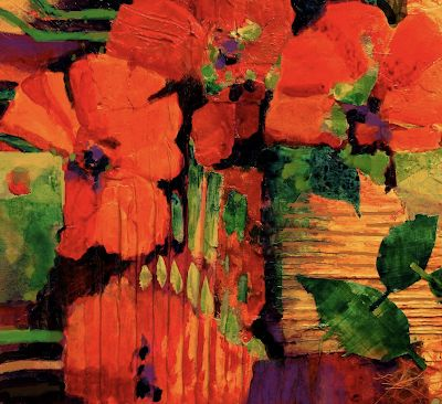 "Poppies, Floral Fine Art Print ""Tropical Tapestry"" by Carol Nelson Fine Art"