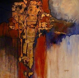 """Geologic Abstract Mixed Media Painting """"New World"""" by Colorado Artist Carol Nelson"""
