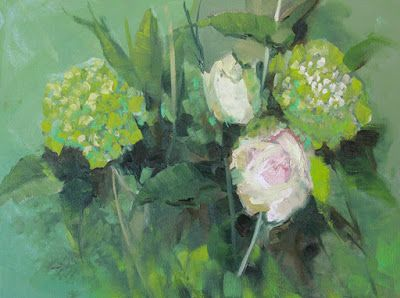 """Impressionist Floral Painting, """"Roses in Green"""" by Colorado Artist Susan Fowler"""
