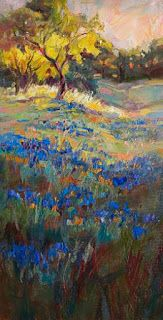 """Golden Glow"" Bluebonnet Painting by Texas Artist Niki Gulley"
