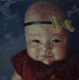 Maren with Bow, 8 in square, oil on panel