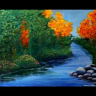 Mark Webster - The Autumn Brook Acrylic Landscape Painting