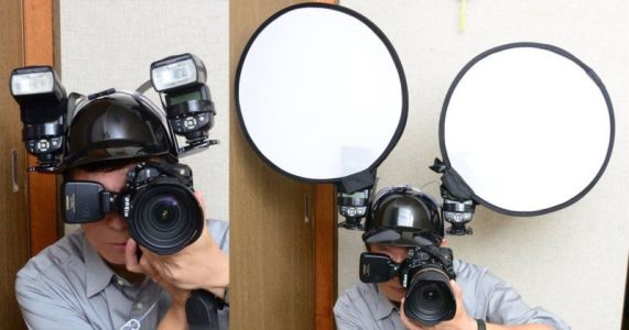 This Photographer Uses a Beer Helmet to Mount Flashes to His Head