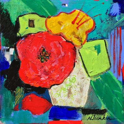 "Expressionist Still Life Fine Art Painting, Flower Art ""FANTASY BOUQUET"" by Oklahoma Artist Nancy Junkin"