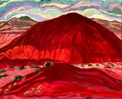 "Contemporary Expressionist Landscape Art Painting ""Red Hills- Ghost Ranch"" by Santa Fe Artist Annie O'Brien Gonzales"