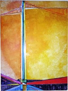 "Original Art, Geometric Abstract Painting ""Golden Gate"" by Contemporary Artist Lou Jordan"