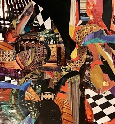 """Contemporary Abstract Art Painting, Mixed Media Collage """"Razzle Dazzle"""" by New Orleans Artist Lou Jordan"""