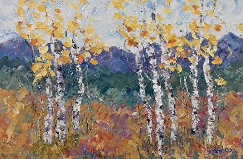 "Palette Knife Aspen Tree, Colorado Landscape Painting ""Beckoning of Spring"" by Colorado Impressionist Judith Babcock"
