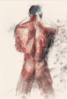 Male nude backside pastel drawing painting