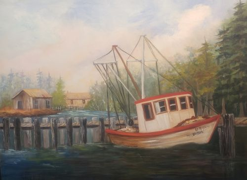 Ms Barbara's Shrimp Boat, oil painting, Barbara Haviland