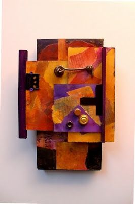 "Mixed Media Mini Wall Sculpture ""C1 - LATCH HOOK "" by Colorado Mixed Media Abstract Artist Carol Nelson"