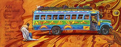 "Whimsical Figure, School Bus Art,Contemporary Painting ""Ada Quite Relieved""by Colorado Artist Nancee Jean Busse"
