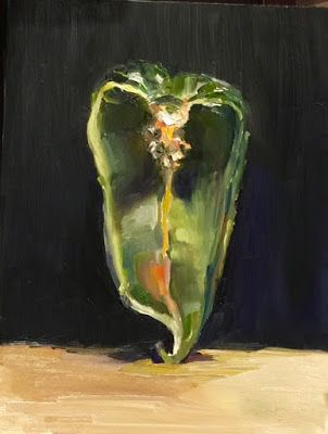 Poblano Pepper - still life painting