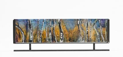 "Fine Art Sculpture Resin, Steel Cast Acrylic ""Aspen Mountain 1"" by Santa Fe Artist Sandra Duran Wilson"